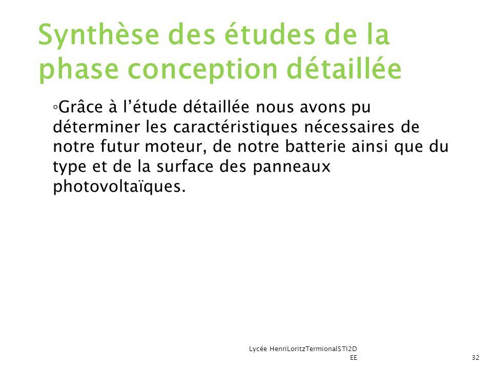 Synthèse des études de la phase conception détaillée