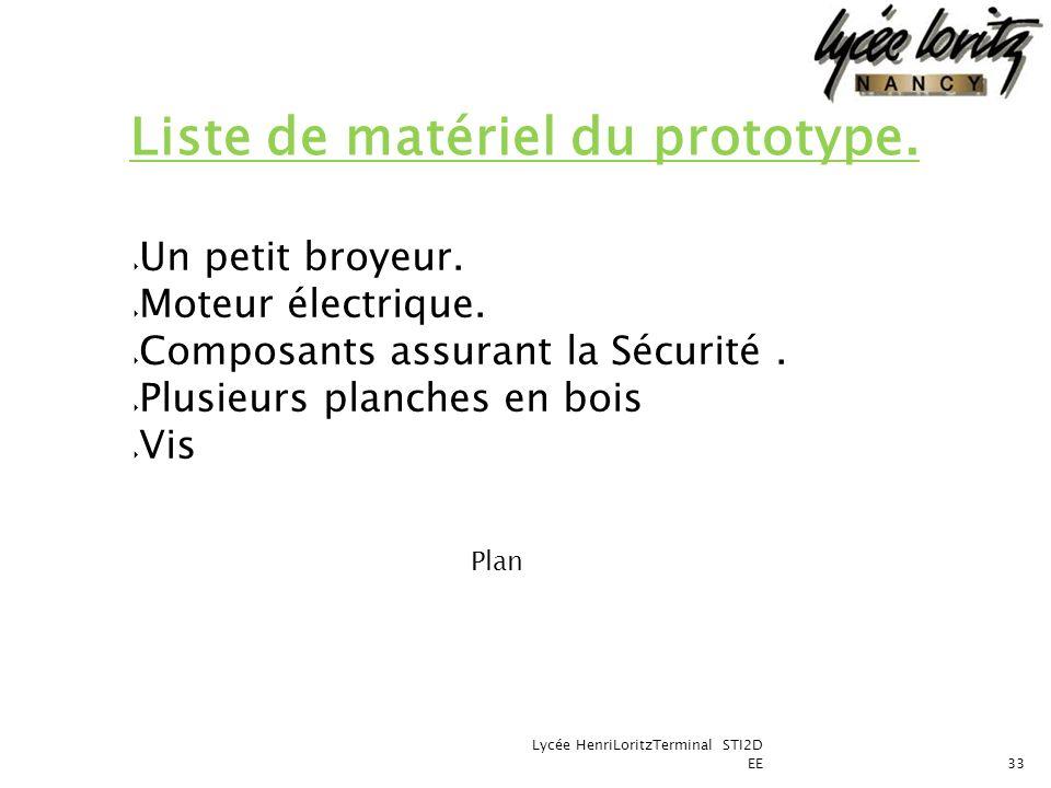 Liste de matériel du prototype.