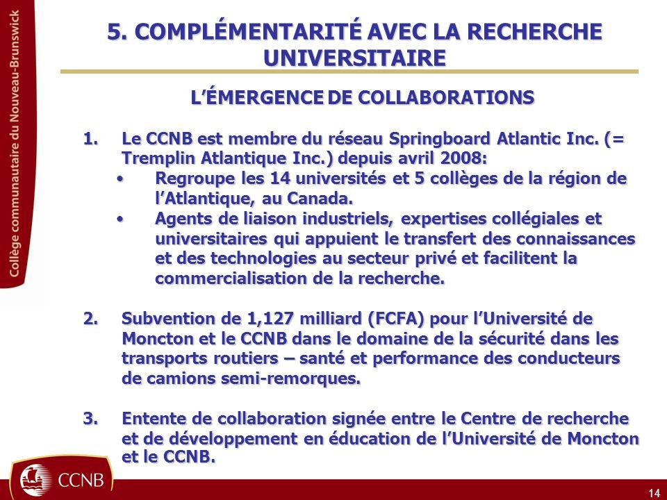 5. COMPLÉMENTARITÉ AVEC LA RECHERCHE UNIVERSITAIRE