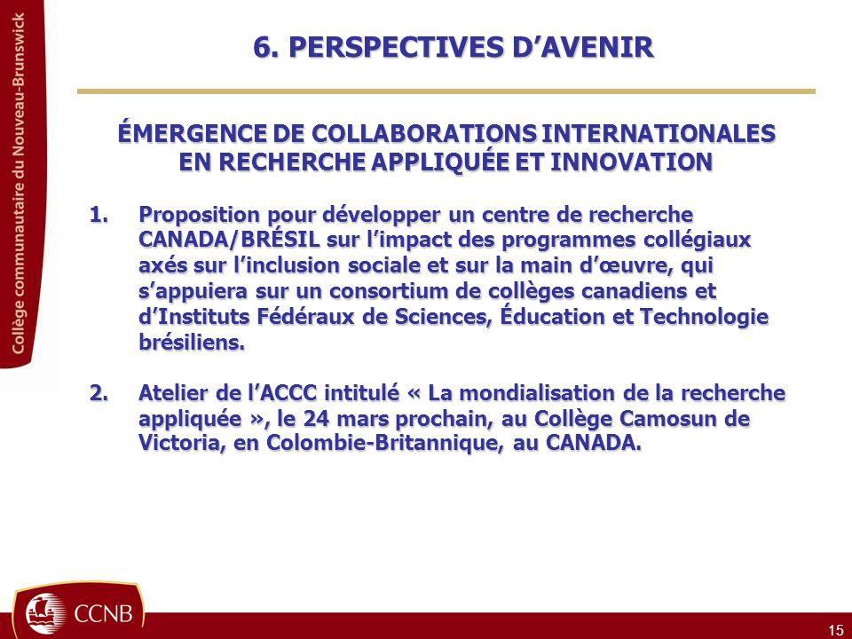 6. PERSPECTIVES D'AVENIR