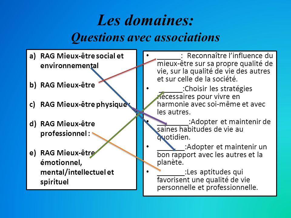 Les domaines: Questions avec associations