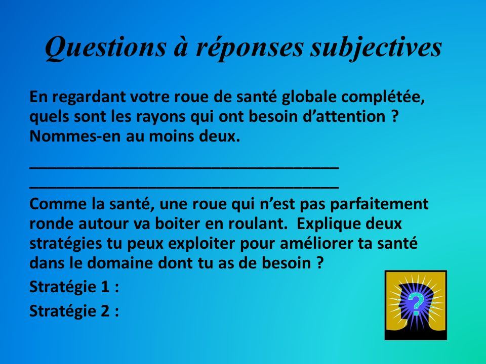 Questions à réponses subjectives