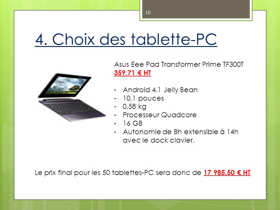 4. Choix des tablette-PC Asus Eee Pad Transformer Prime TF300T