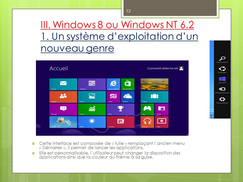 III. Windows 8 ou Windows NT 6. 2 1