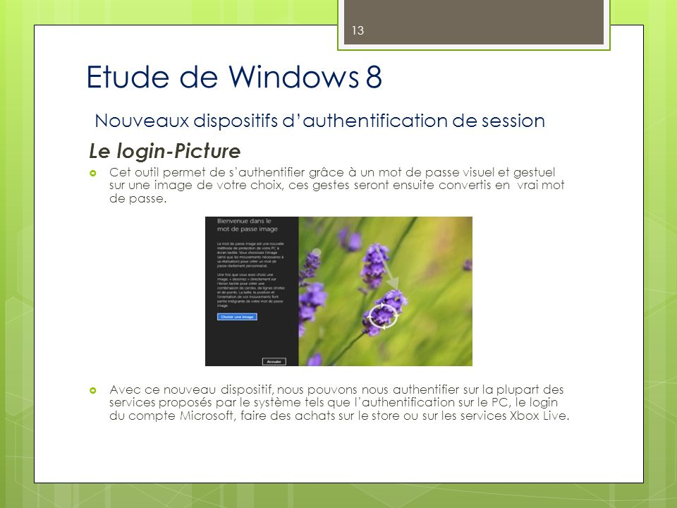 Etude de Windows 8 Nouveaux dispositifs d'authentification de session