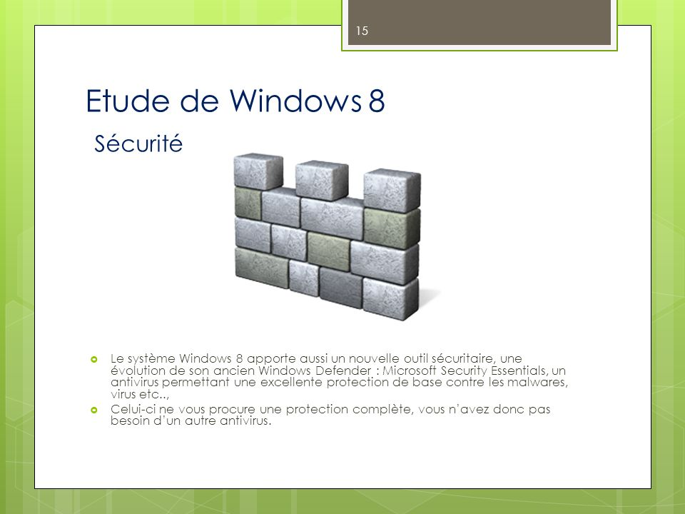 Etude de Windows 8 Sécurité