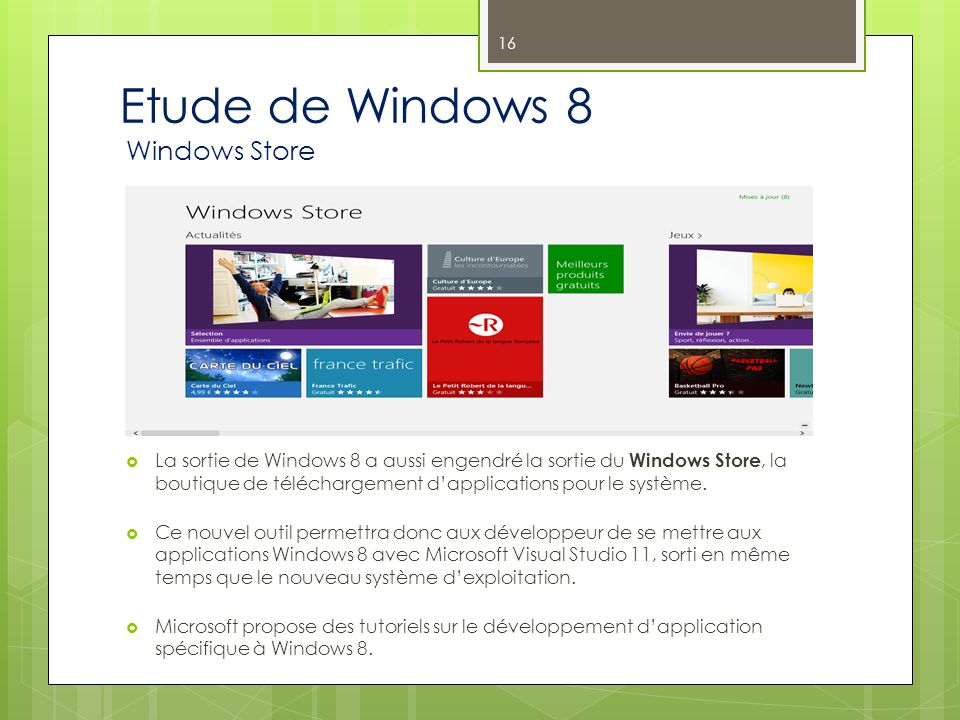 Etude de Windows 8 Windows Store