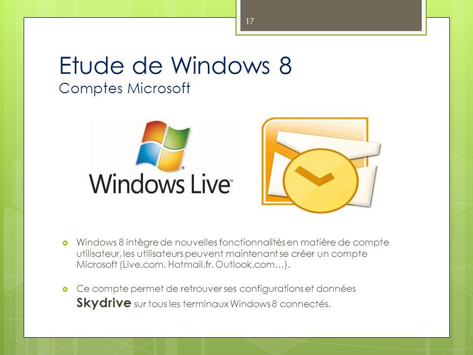 Etude de Windows 8 Comptes Microsoft