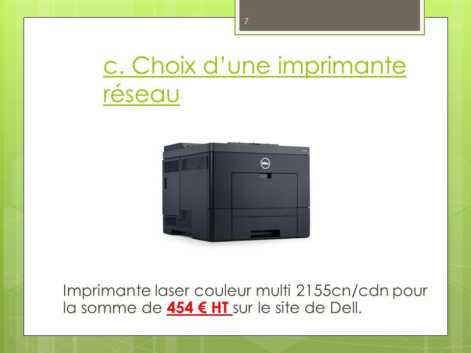 c. Choix d'une imprimante réseau