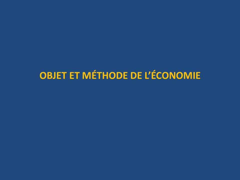 OBJET ET MÉTHODE DE L'ÉCONOMIE