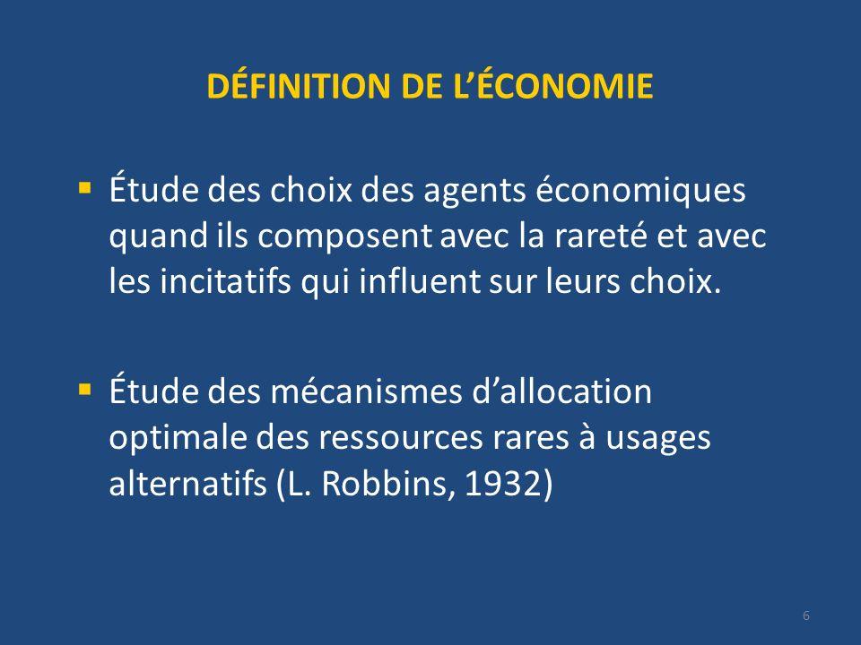 DÉFINITION DE L'ÉCONOMIE