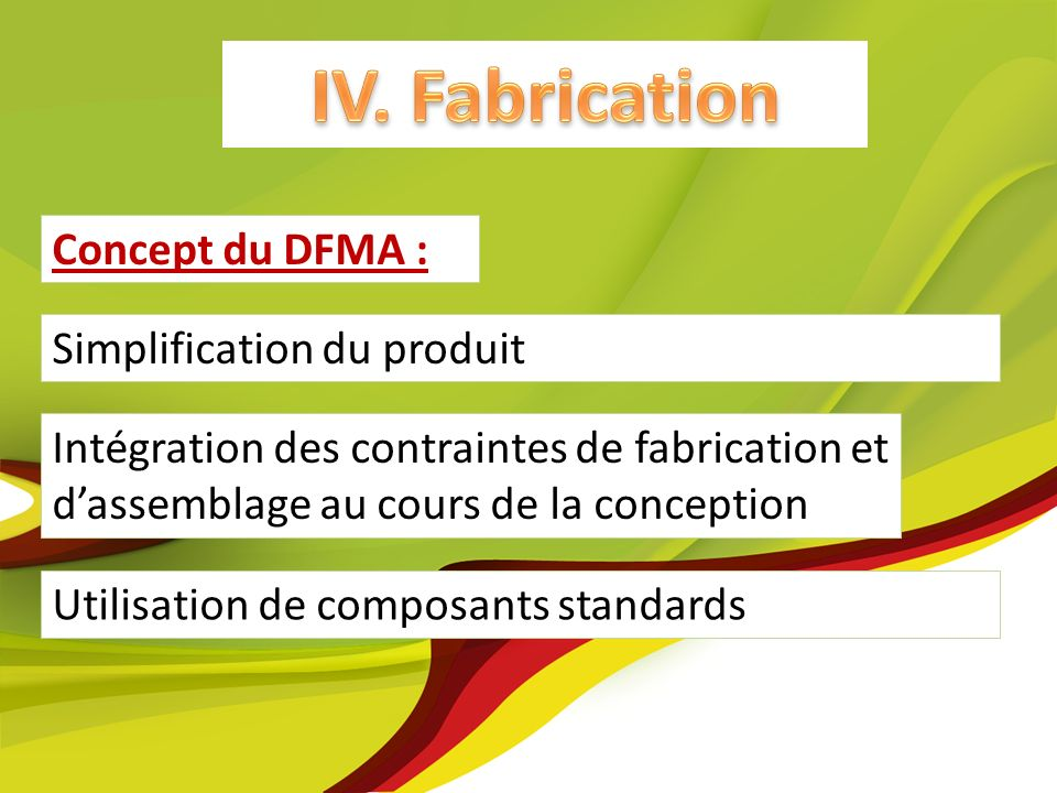 IV. Fabrication IV. Fabrication Concept du DFMA :