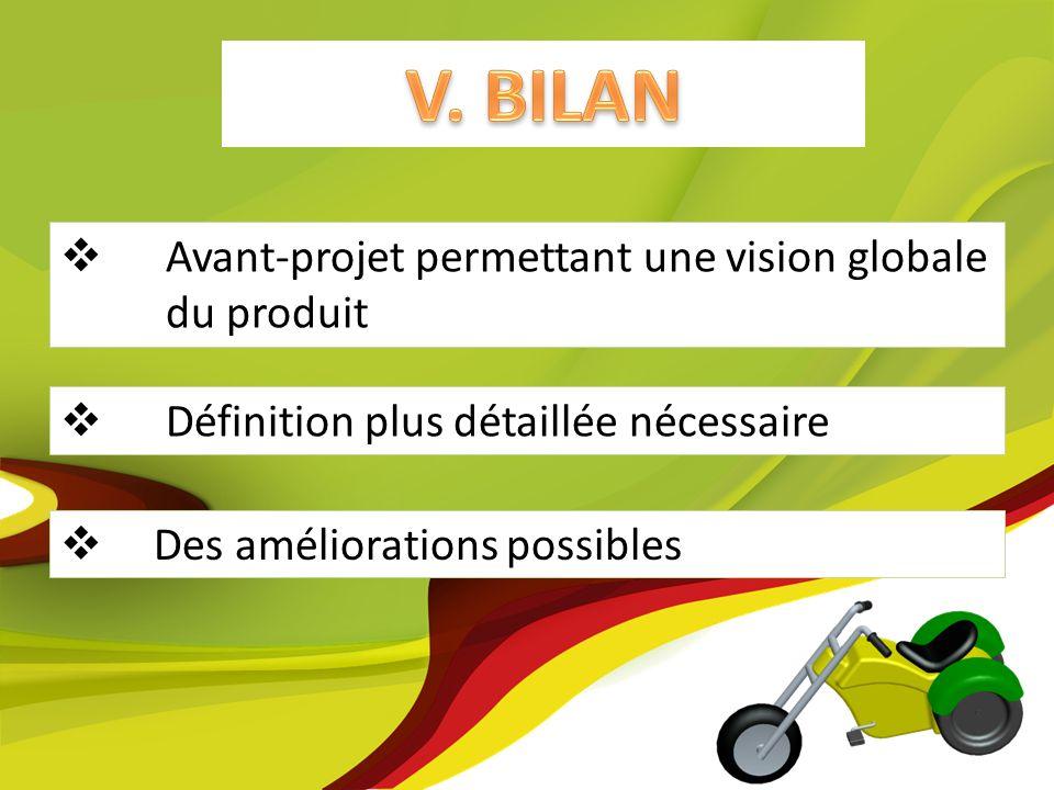V. BILAN Avant-projet permettant une vision globale du produit