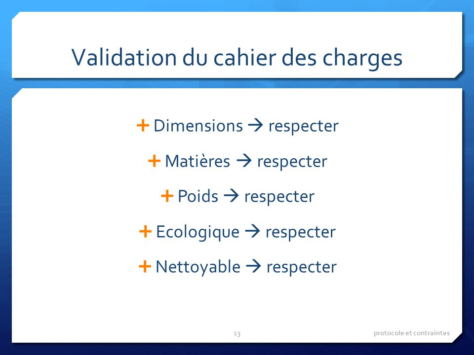 Validation du cahier des charges