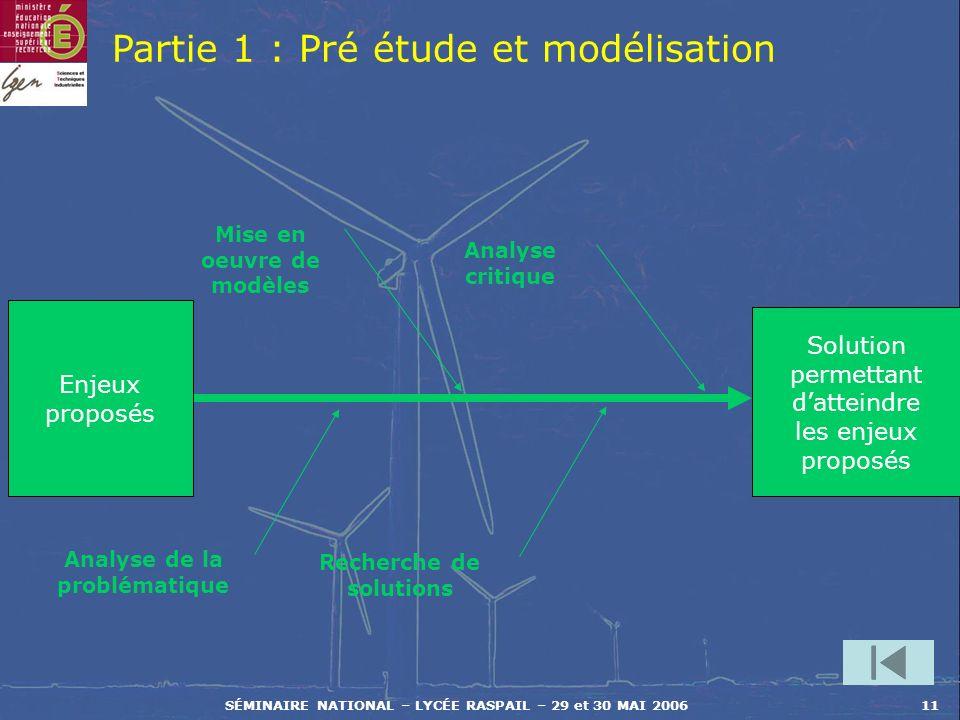 Partie 1 : Pré étude et modélisation