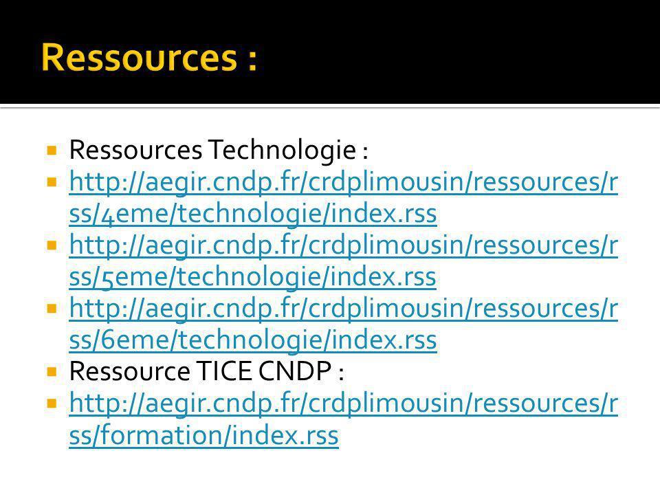 Ressources : Ressources Technologie :