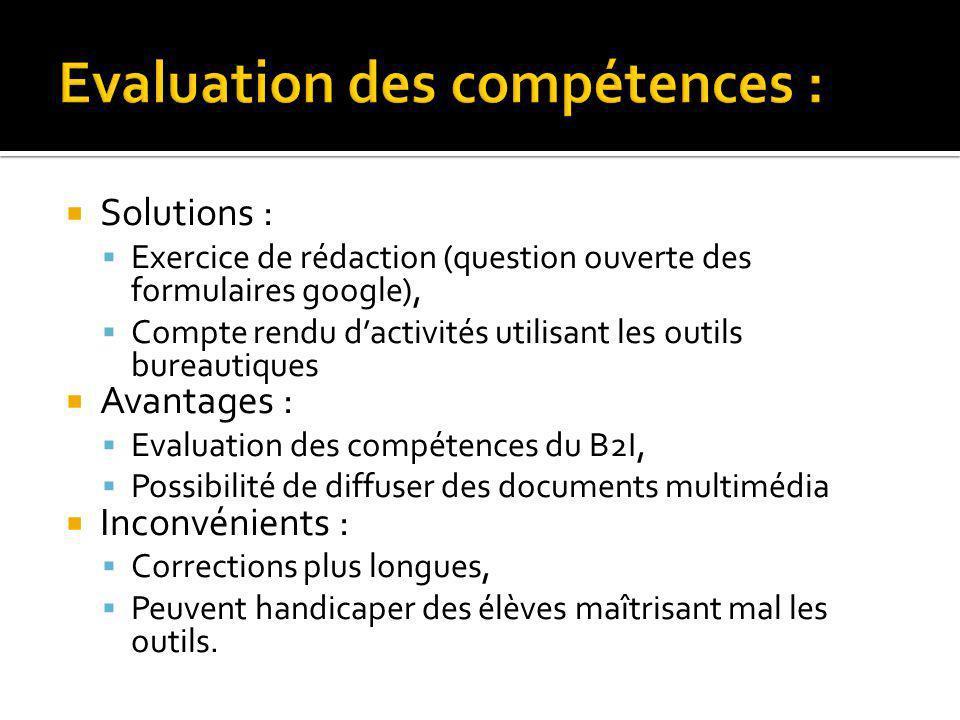 Evaluation des compétences :
