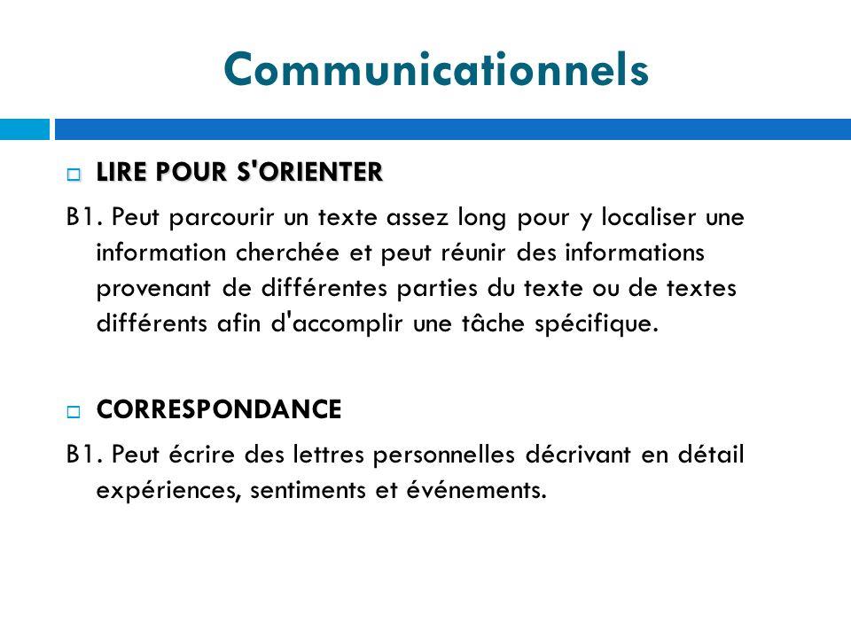 Communicationnels LIRE POUR S ORIENTER