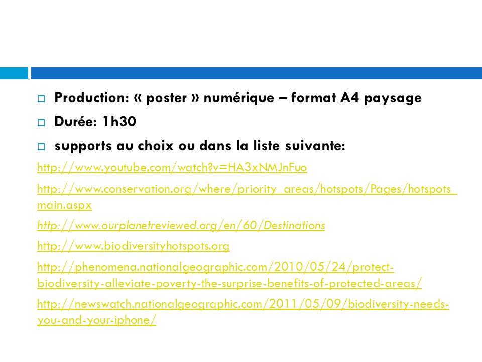 Production: « poster » numérique – format A4 paysage Durée: 1h30