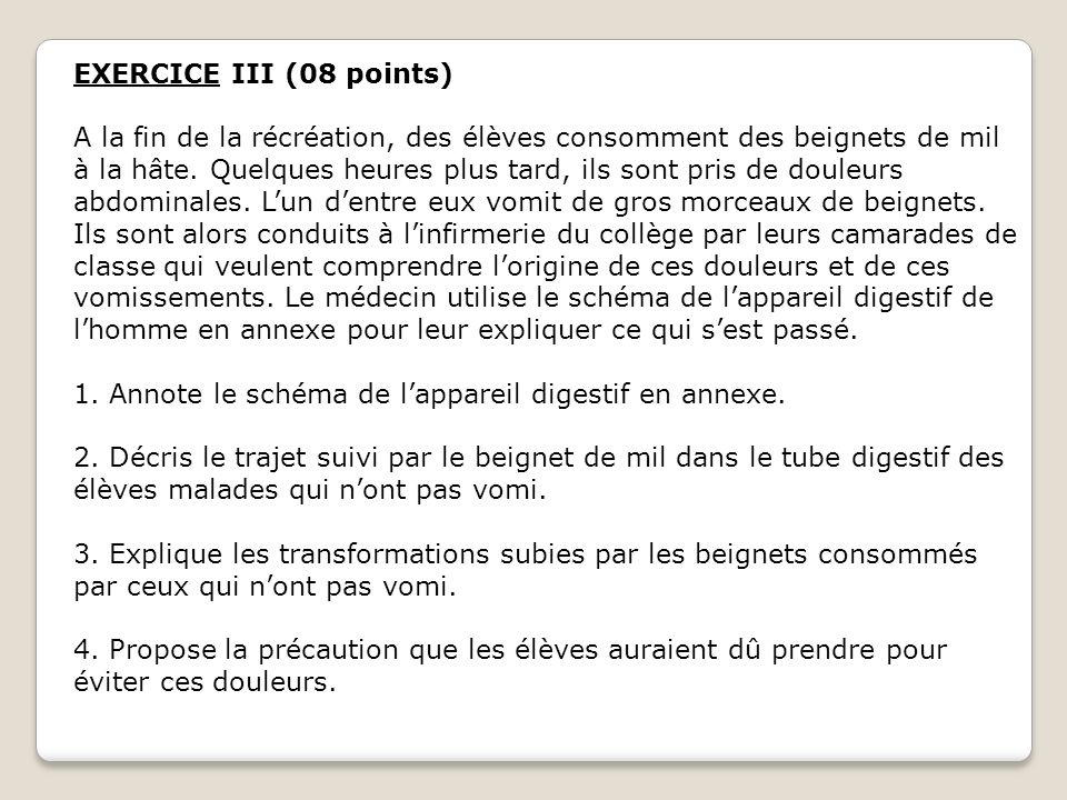 EXERCICE III (08 points)