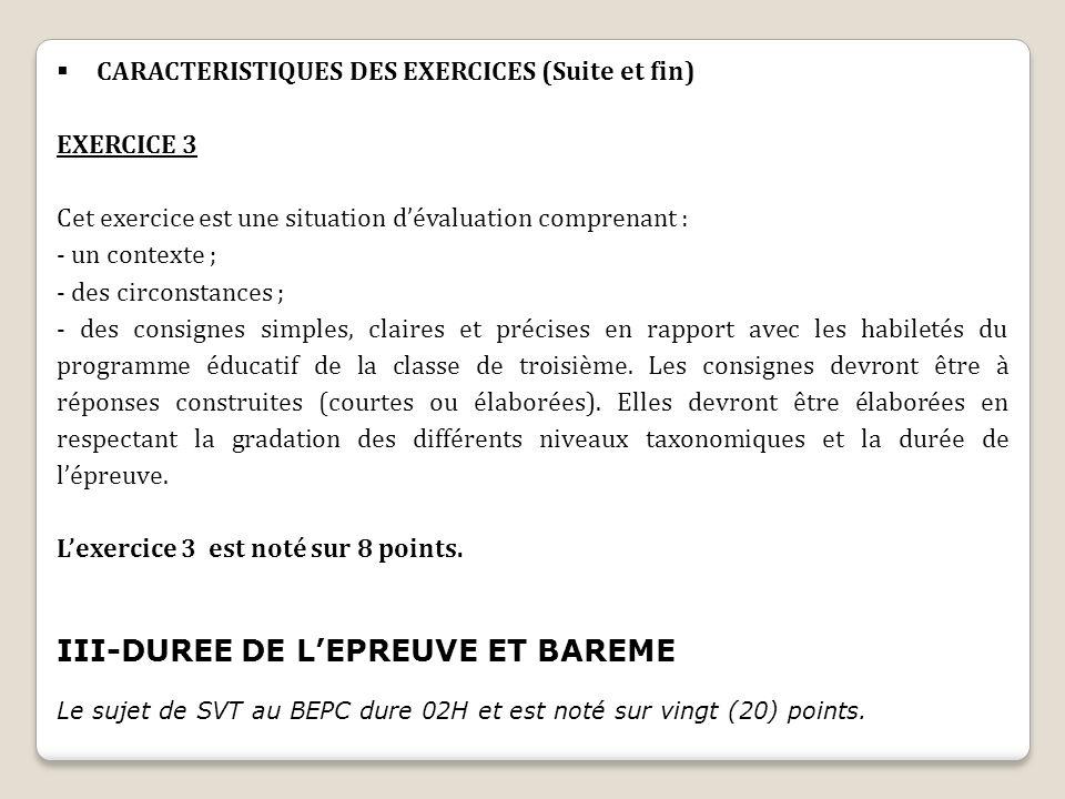 III-DUREE DE L'EPREUVE ET BAREME