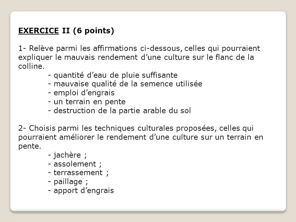 EXERCICE II (6 points)