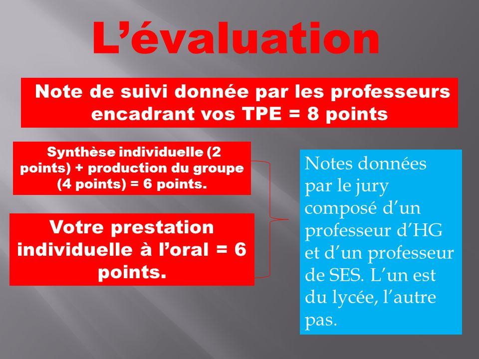 L'évaluation Note de suivi donnée par les professeurs encadrant vos TPE = 8 points.