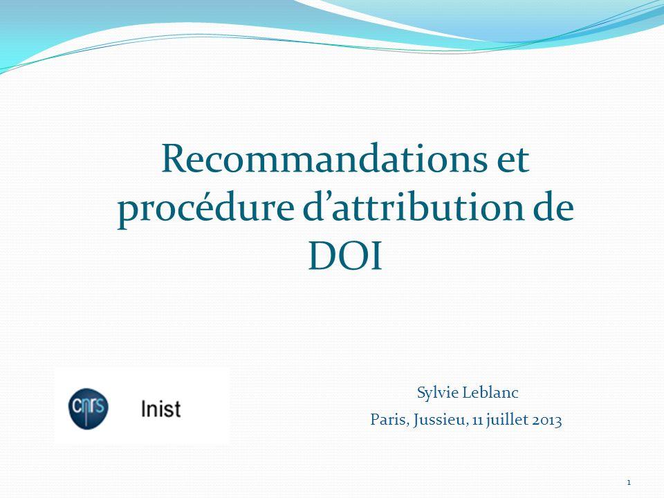 Recommandations et procédure d'attribution de DOI