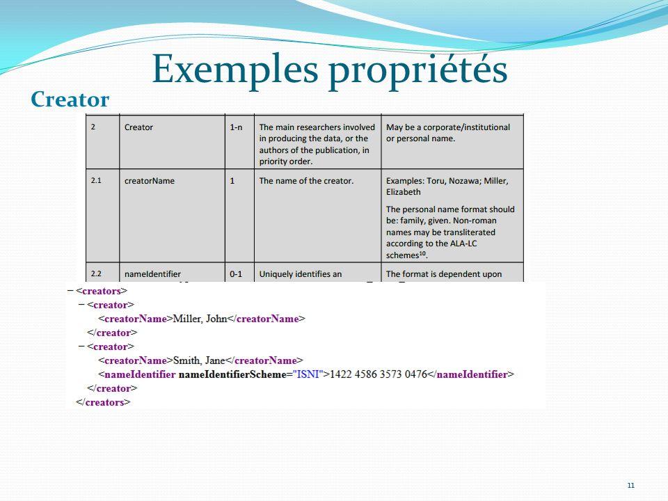 Exemples propriétés Creator