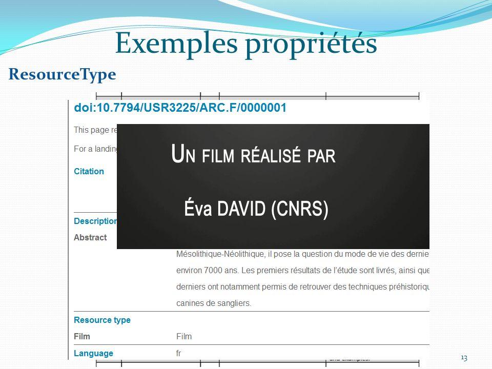 Exemples propriétés ResourceType