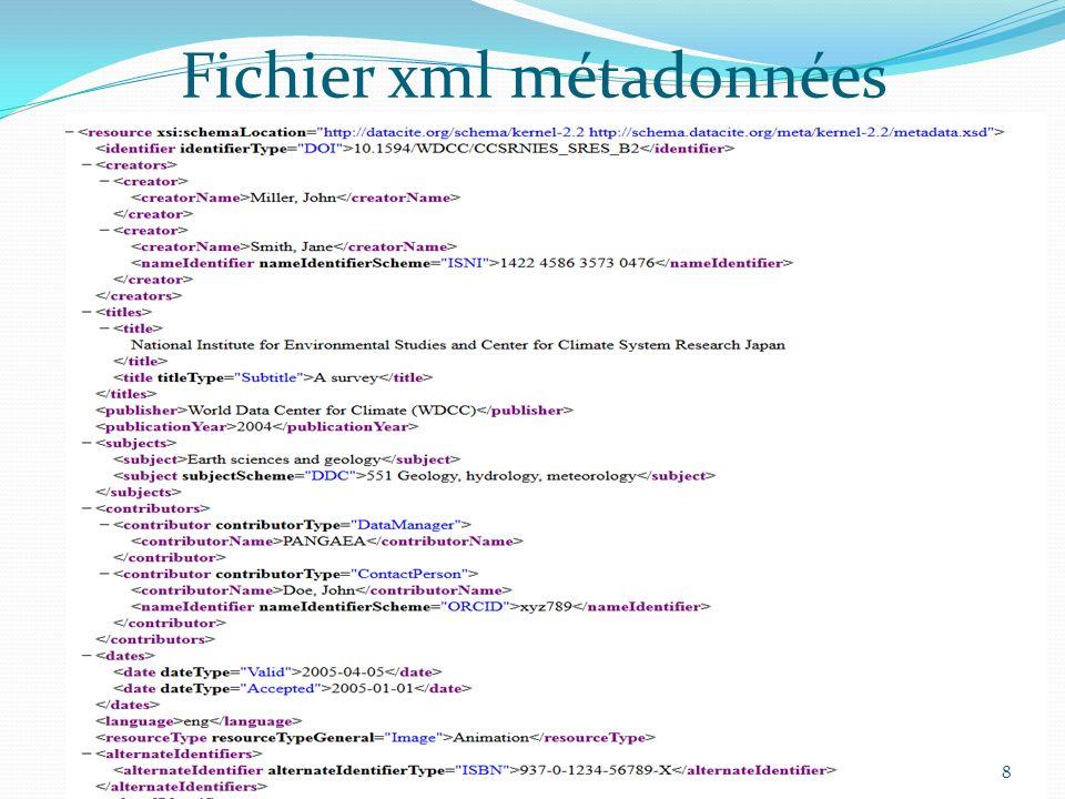 Fichier xml métadonnées