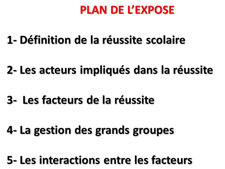 PLAN DE L'EXPOSE 1- Définition de la réussite scolaire 2- Les acteurs impliqués dans la réussite 3- Les facteurs de la réussite 4- La gestion des grands groupes 5- Les interactions entre les facteurs