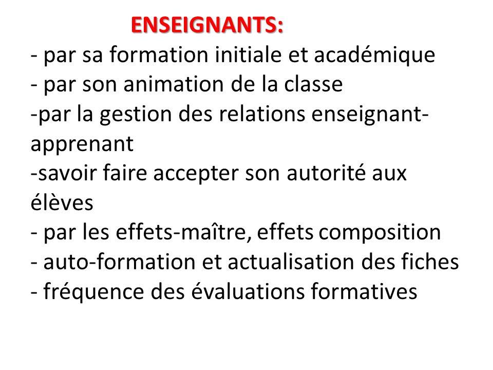 ENSEIGNANTS: - par sa formation initiale et académique - par son animation de la classe -par la gestion des relations enseignant-apprenant -savoir faire accepter son autorité aux élèves - par les effets-maître, effets composition - auto-formation et actualisation des fiches - fréquence des évaluations formatives