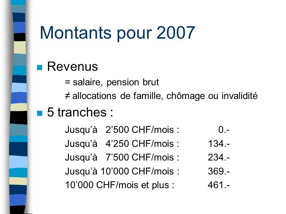 Montants pour 2007 Revenus 5 tranches : Jusqu'à 2'500 CHF/mois : 0.-