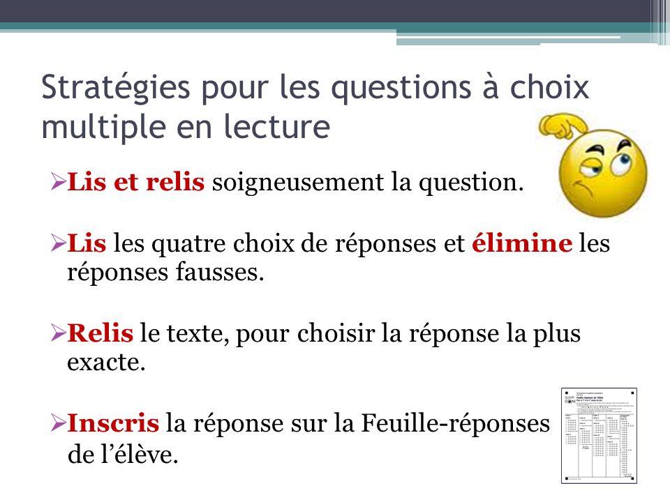 Stratégies pour les questions à choix multiple en lecture