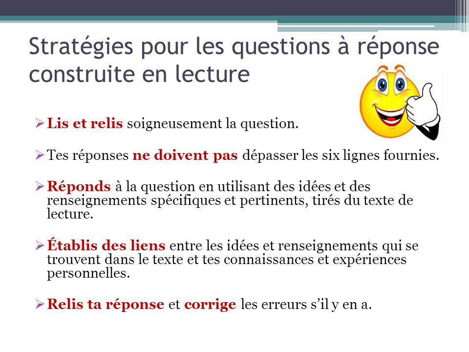 Stratégies pour les questions à réponse construite en lecture