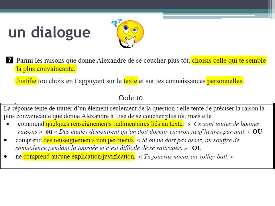 un dialogue Code 10