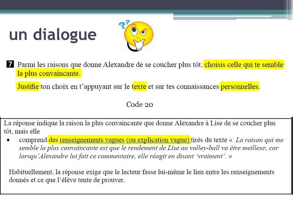 un dialogue Code 20