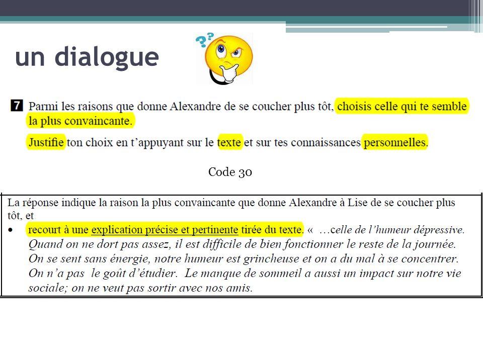 un dialogue Code 30