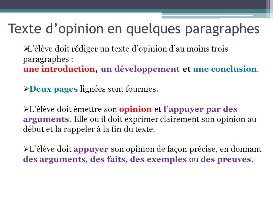 Texte d'opinion en quelques paragraphes