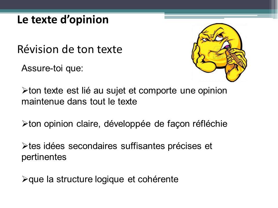 Le texte d'opinion Révision de ton texte Assure-toi que: