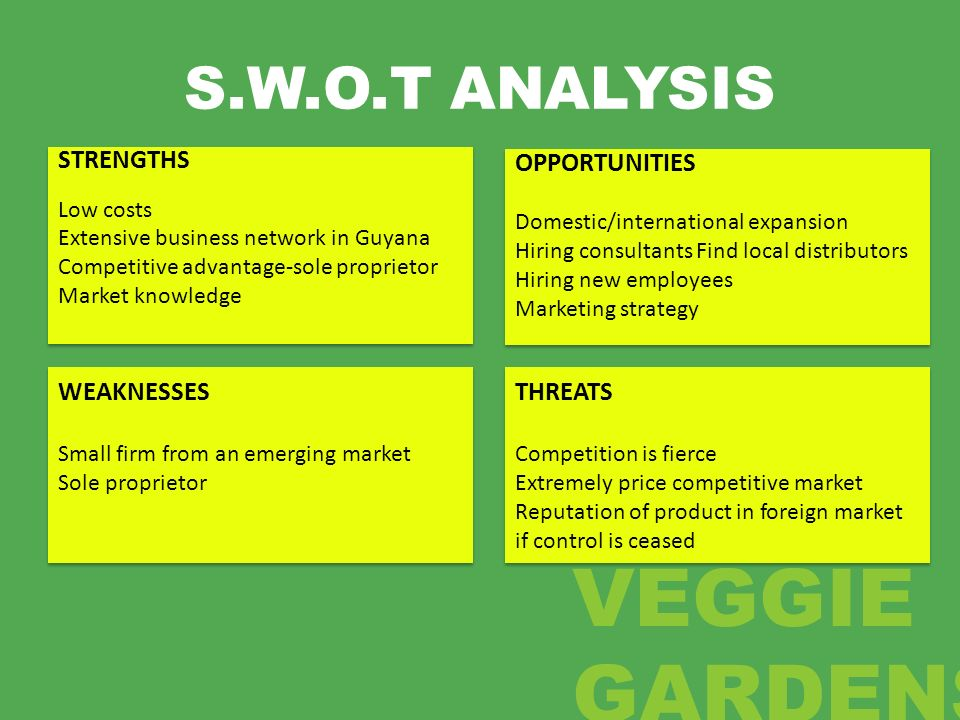 S.W.O.T ANALYSIS STRENGTHS OPPORTUNITIES WEAKNESSES THREATS Low costs