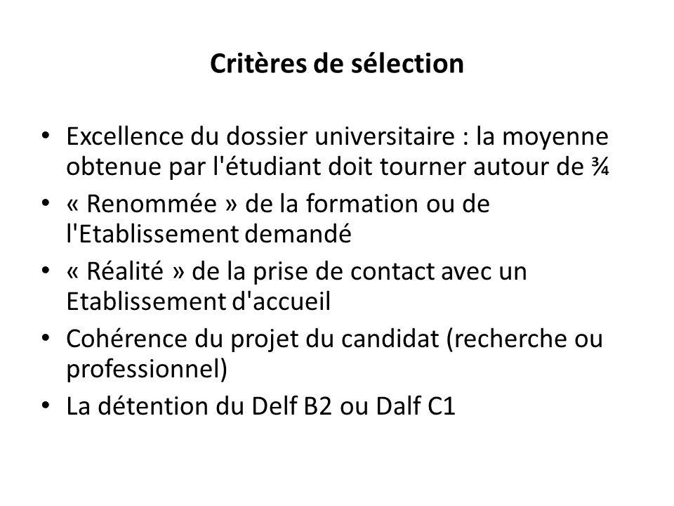 Critères de sélection Excellence du dossier universitaire : la moyenne obtenue par l étudiant doit tourner autour de ¾.