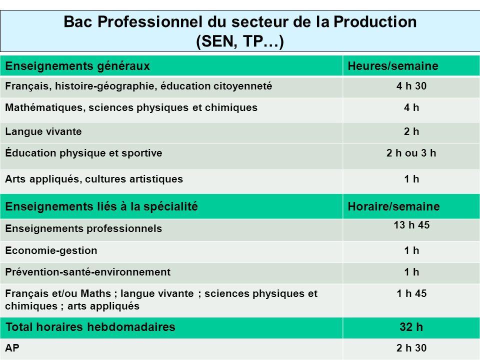 Bac Professionnel du secteur de la Production (SEN, TP…)