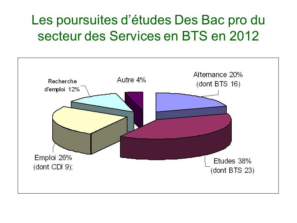 Les poursuites d'études Des Bac pro du secteur des Services en BTS en 2012