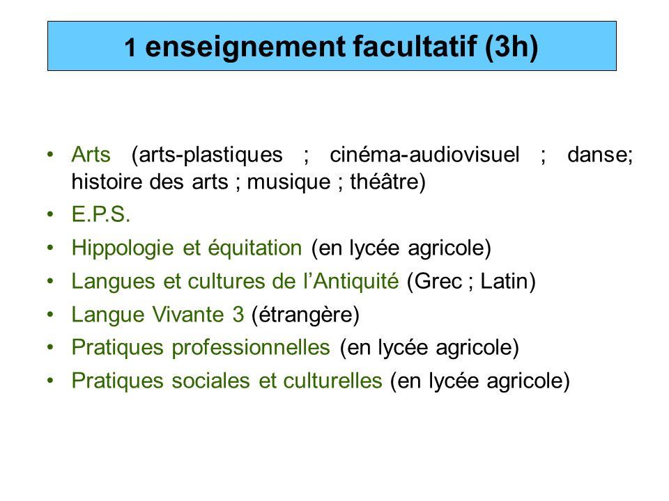 1 enseignement facultatif (3h)