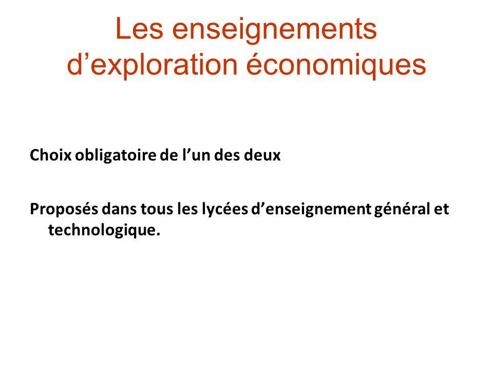 Les enseignements d'exploration économiques