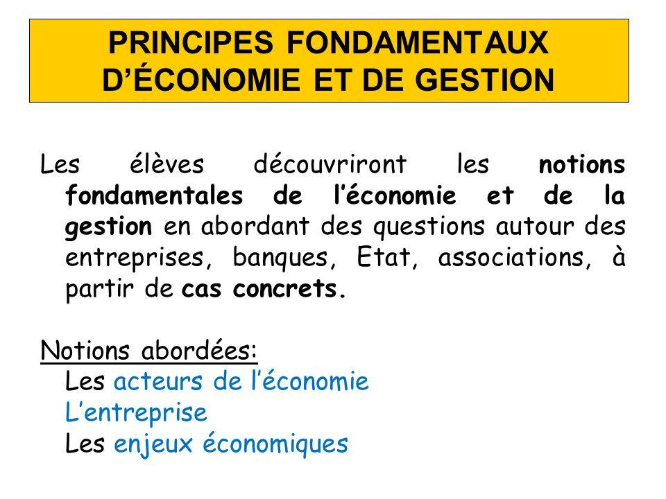 PRINCIPES FONDAMENTAUX D'ÉCONOMIE ET DE GESTION