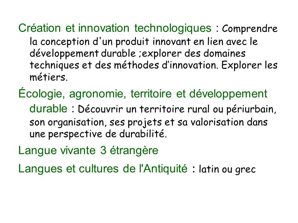 Création et innovation technologiques : Comprendre la conception d un produit innovant en lien avec le développement durable ;explorer des domaines techniques et des méthodes d'innovation.