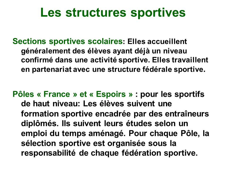 Les structures sportives